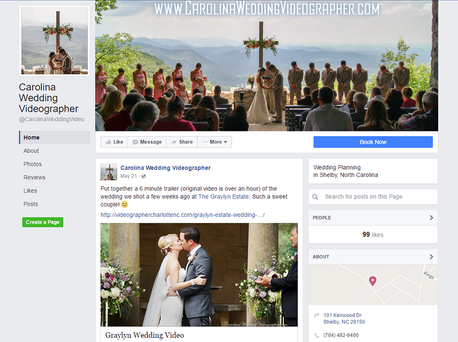 Carolina Wedding Videographer on Facebook