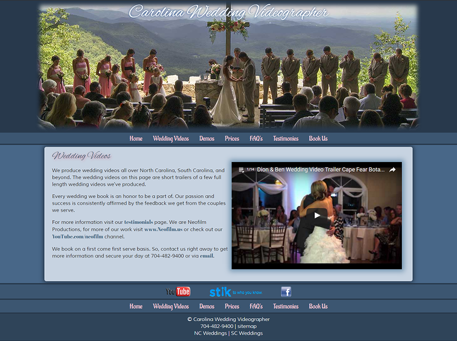 Carolina Wedding Videographer Website
