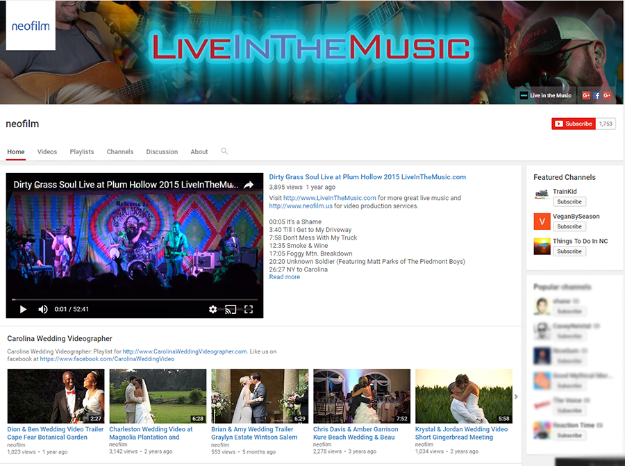 Our YouTube Channel for neofilm and Live in the Music