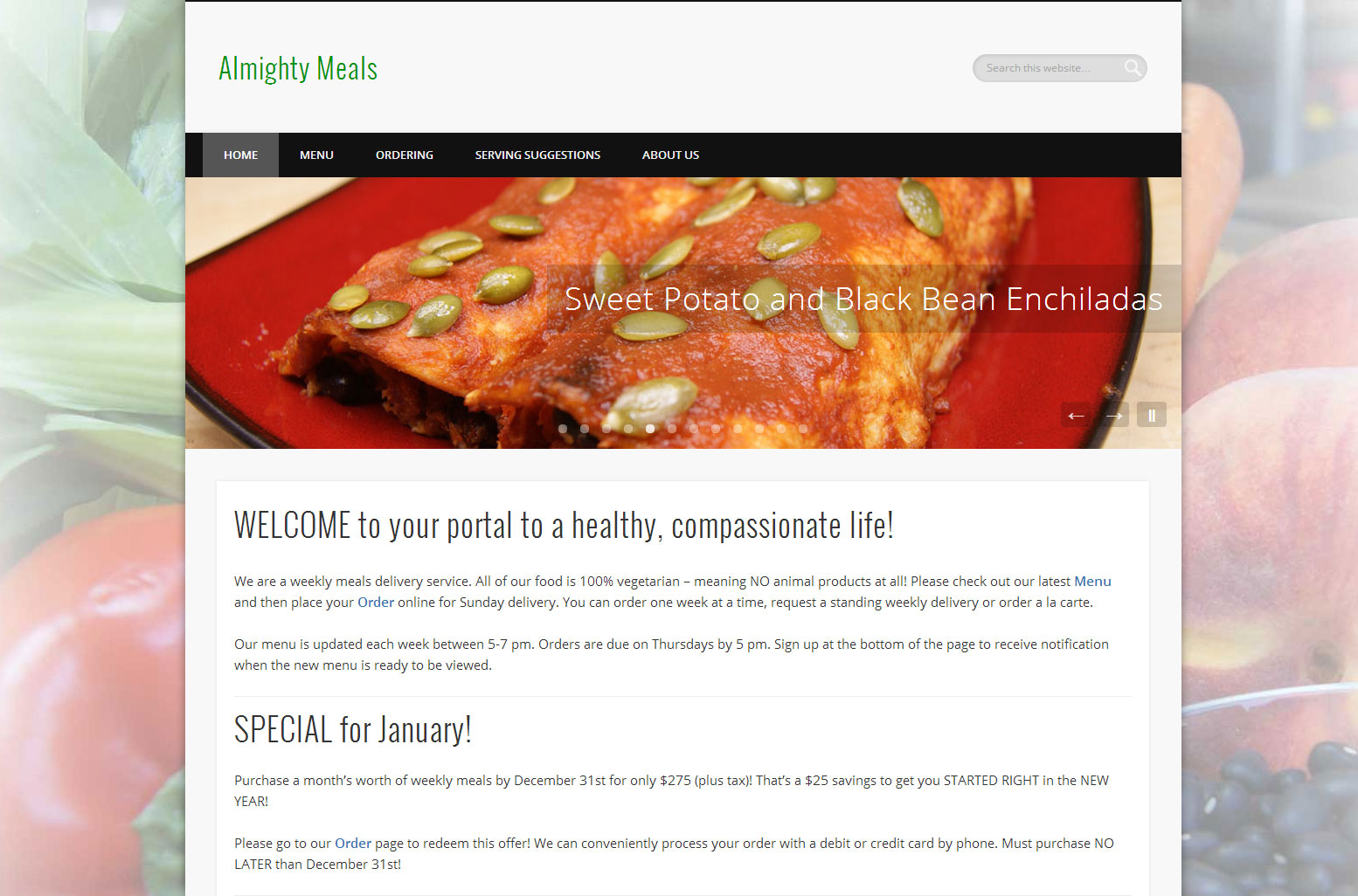Almighty Meals Website